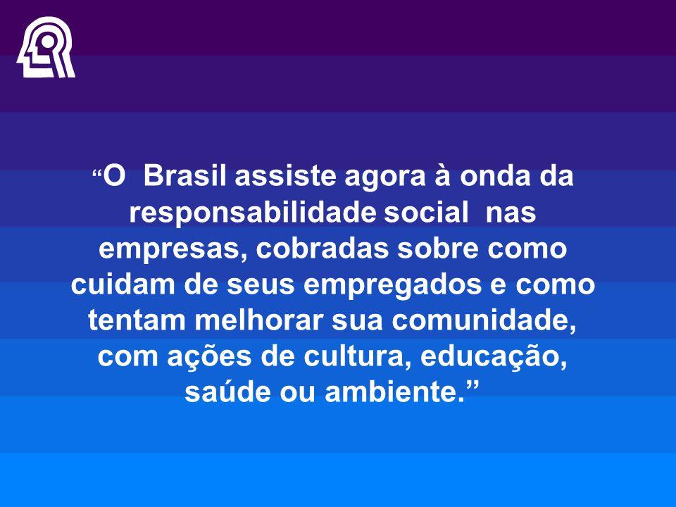 """"""" O Brasil assiste agora à onda da responsabilidade social nas empresas, cobradas sobre como cuidam de seus empregados e como tentam melhorar sua comu"""