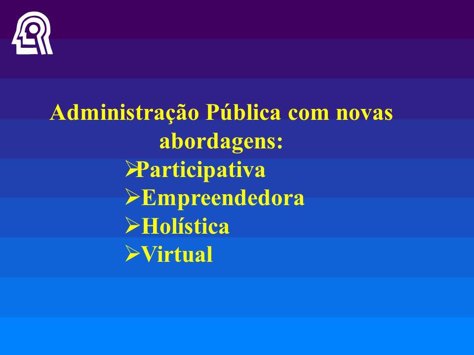 Administração Pública com novas abordagens:  Participativa  Empreendedora  Holística  Virtual