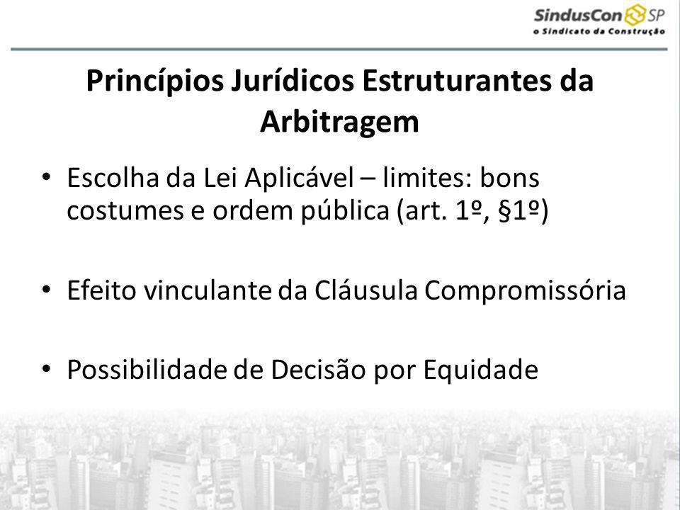 Princípios Jurídicos Estruturantes da Arbitragem • Escolha da Lei Aplicável – limites: bons costumes e ordem pública (art.