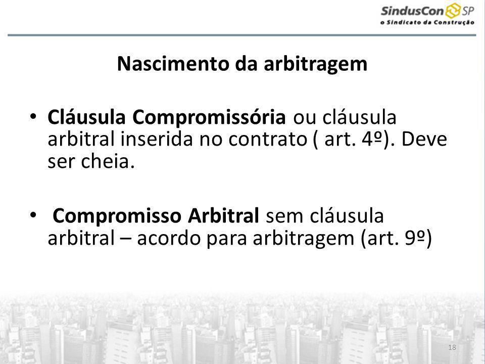 18 Nascimento da arbitragem • Cláusula Compromissória ou cláusula arbitral inserida no contrato ( art. 4º). Deve ser cheia. • Compromisso Arbitral sem