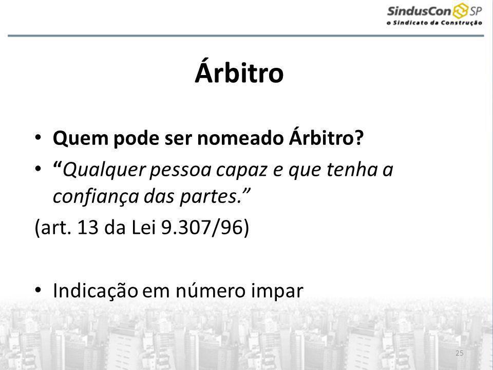 25 Árbitro • Quem pode ser nomeado Árbitro.