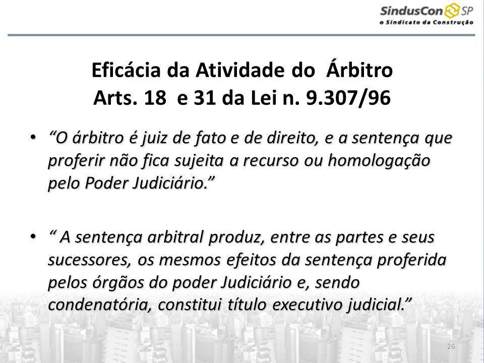 26 Eficácia da Atividade do Árbitro Arts.18 e 31 da Lei n.