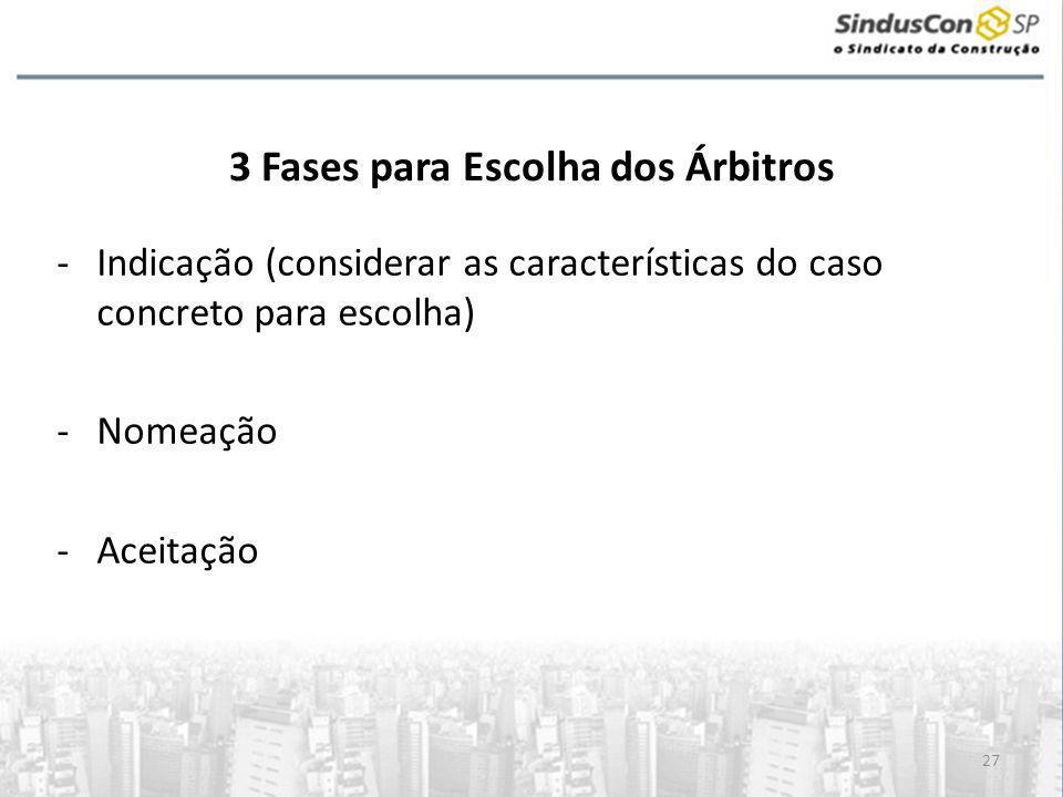 27 3 Fases para Escolha dos Árbitros -Indicação (considerar as características do caso concreto para escolha) -Nomeação -Aceitação