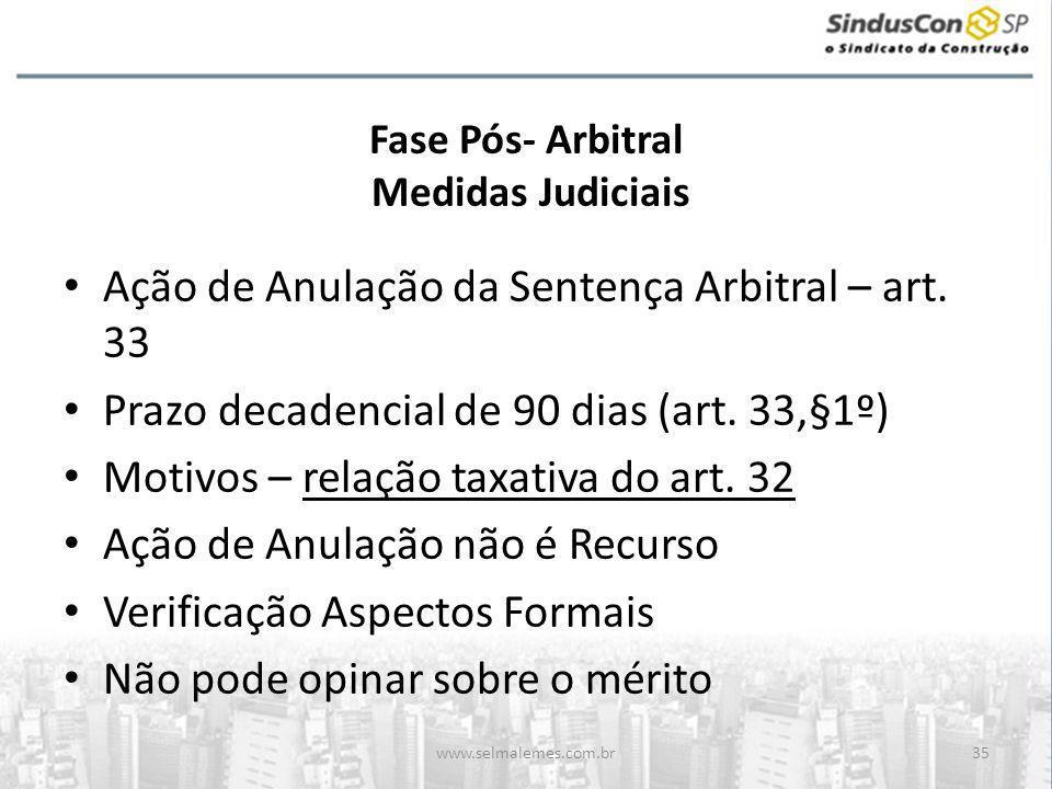 www.selmalemes.com.br35 Fase Pós- Arbitral Medidas Judiciais • Ação de Anulação da Sentença Arbitral – art. 33 • Prazo decadencial de 90 dias (art. 33