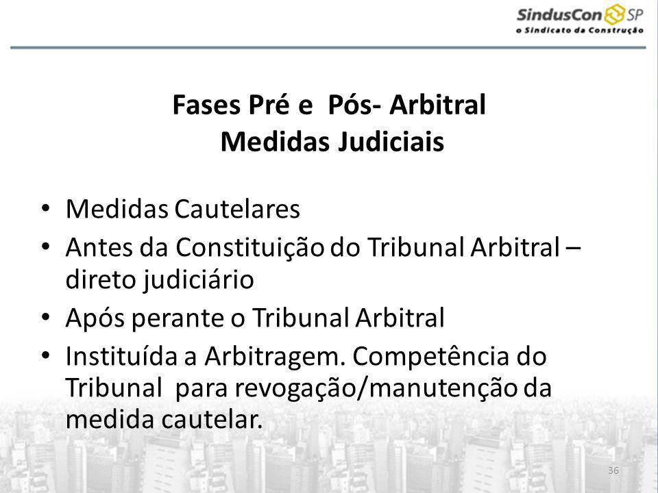 36 Fases Pré e Pós- Arbitral Medidas Judiciais • Medidas Cautelares • Antes da Constituição do Tribunal Arbitral – direto judiciário • Após perante o