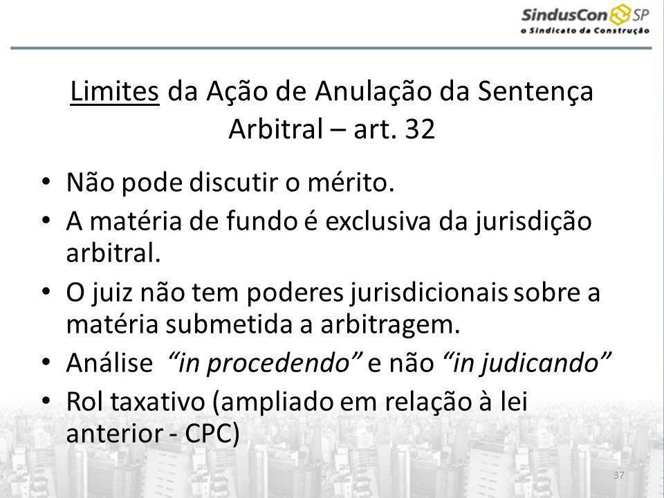 37 Limites da Ação de Anulação da Sentença Arbitral – art.