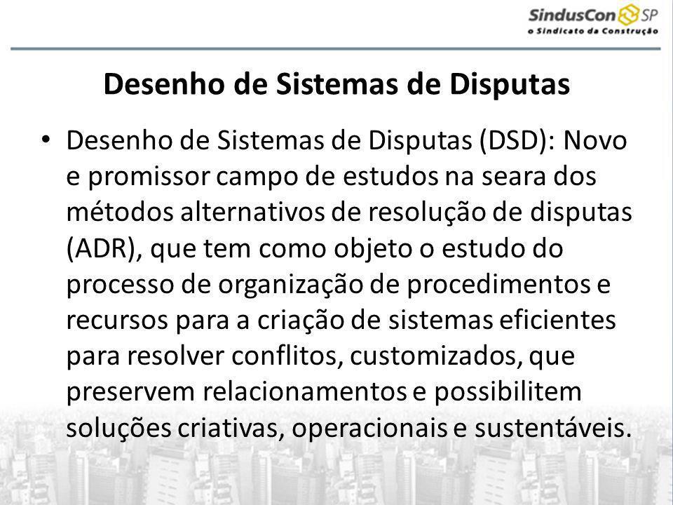 Desenho de Sistemas de Disputas • Desenho de Sistemas de Disputas (DSD): Novo e promissor campo de estudos na seara dos métodos alternativos de resolu