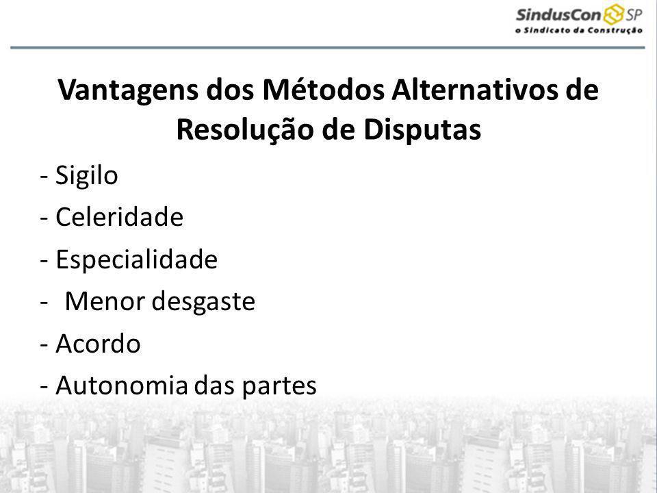 Vantagens dos Métodos Alternativos de Resolução de Disputas - Sigilo - Celeridade - Especialidade -Menor desgaste - Acordo - Autonomia das partes