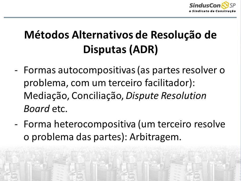 Métodos Alternativos de Resolução de Disputas (ADR) -Formas autocompositivas (as partes resolver o problema, com um terceiro facilitador): Mediação, Conciliação, Dispute Resolution Board etc.