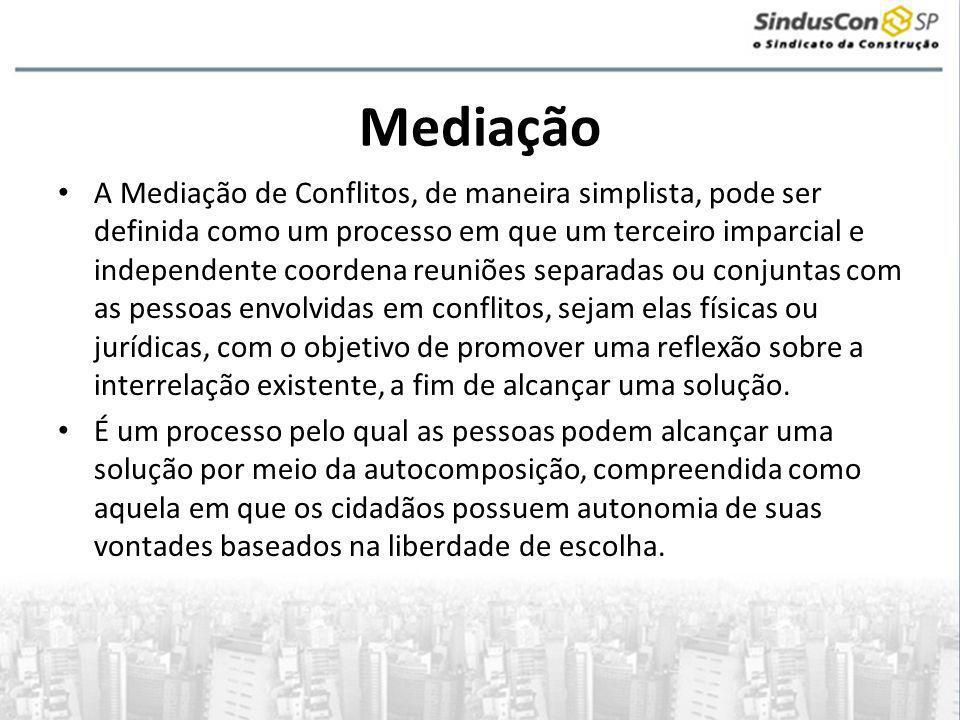 Mediação • O mediador atua simplesmente como facilitador nas negociações.