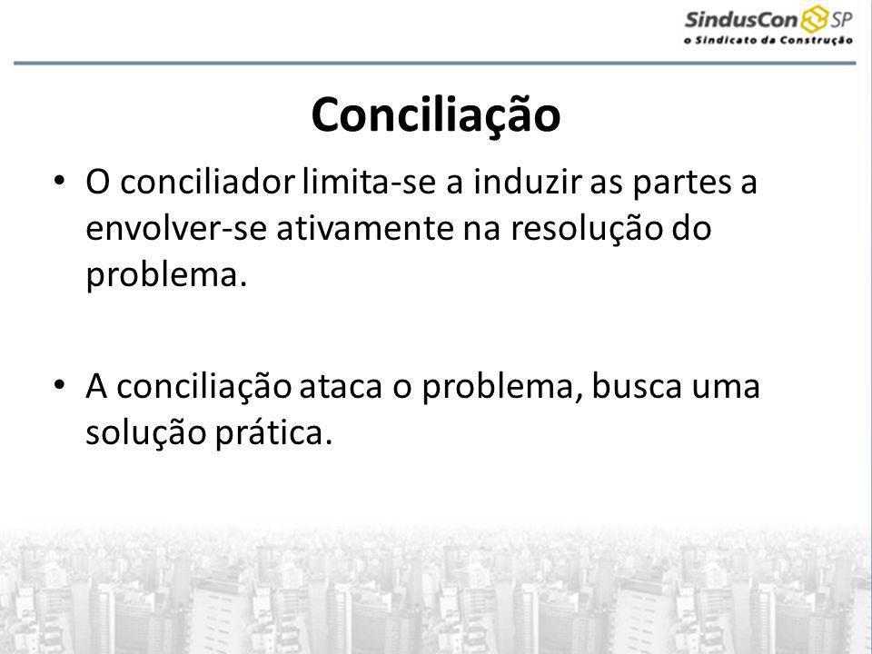 Conciliação • O conciliador limita-se a induzir as partes a envolver-se ativamente na resolução do problema. • A conciliação ataca o problema, busca u