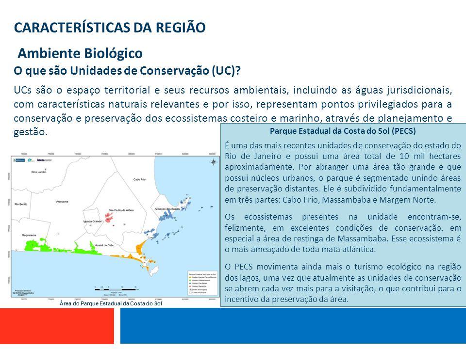 CARACTERÍSTICAS DA REGIÃO Ambiente Biológico Embarcação que utiliza linha de mão O que são Unidades de Conservação (UC)? UCs são o espaço territorial