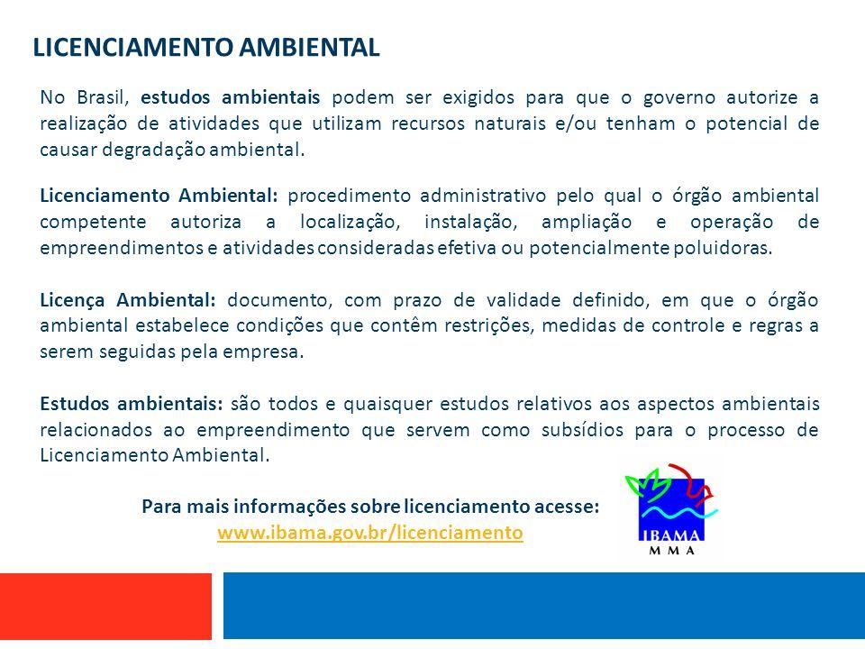 LICENCIAMENTO AMBIENTAL No Brasil, estudos ambientais podem ser exigidos para que o governo autorize a realização de atividades que utilizam recursos