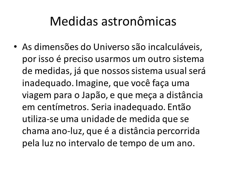 Medidas astronômicas • As dimensões do Universo são incalculáveis, por isso é preciso usarmos um outro sistema de medidas, já que nossos sistema usual será inadequado.