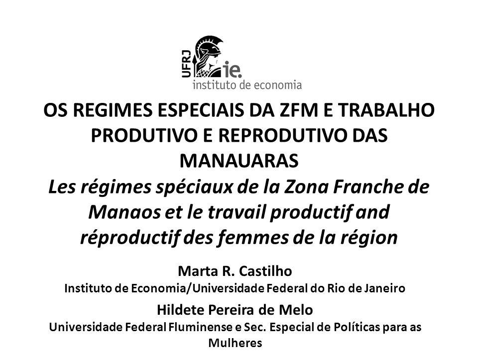 As mulheres da ZFM Marta Castilho – IE/UFRJ Introdução • Manaus tem uma estrutura produtiva e comercial bem diferente do resto do Brasil: quais as implicações dessas diferenças para a vida das trabalhadoras.