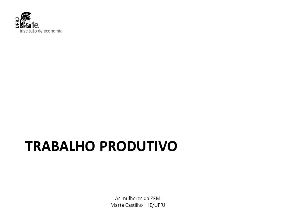 As mulheres da ZFM Marta Castilho – IE/UFRJ Afazeres domésticos: setor AMAZONASBRASILMULHERES HOMEMMULHERHOMEMMULHERAM x BR INDÚSTRIAS EXTRATIVAS 0%80%42%77% > Alimentos e bebidas 63%67%50%91% < Têxtil, vestuário e couro 50%86%49%92% < Informático, Eletrônicos e mat.