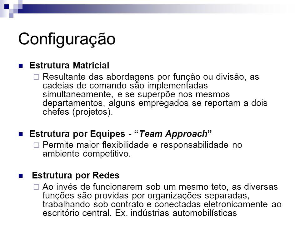  Estrutura Matricial  Resultante das abordagens por função ou divisão, as cadeias de comando são implementadas simultaneamente, e se superpõe nos mesmos departamentos, alguns empregados se reportam a dois chefes (projetos).