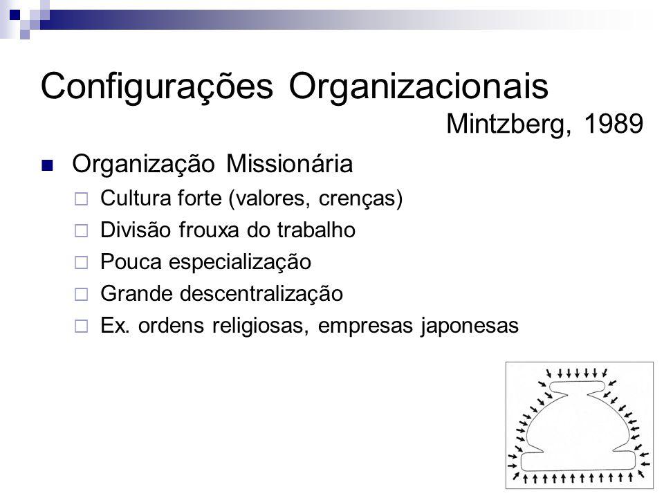  Organização Missionária  Cultura forte (valores, crenças)  Divisão frouxa do trabalho  Pouca especialização  Grande descentralização  Ex.