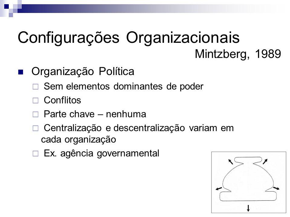  Organização Política  Sem elementos dominantes de poder  Conflitos  Parte chave – nenhuma  Centralização e descentralização variam em cada organização  Ex.