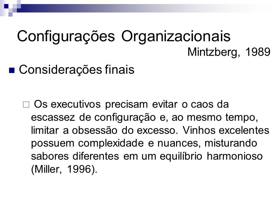  Considerações finais  Os executivos precisam evitar o caos da escassez de configuração e, ao mesmo tempo, limitar a obsessão do excesso. Vinhos exc