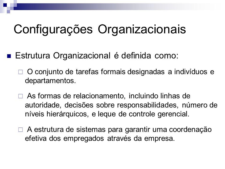 Estrutura Organizacional é definida como:  O conjunto de tarefas formais designadas a indivíduos e departamentos.