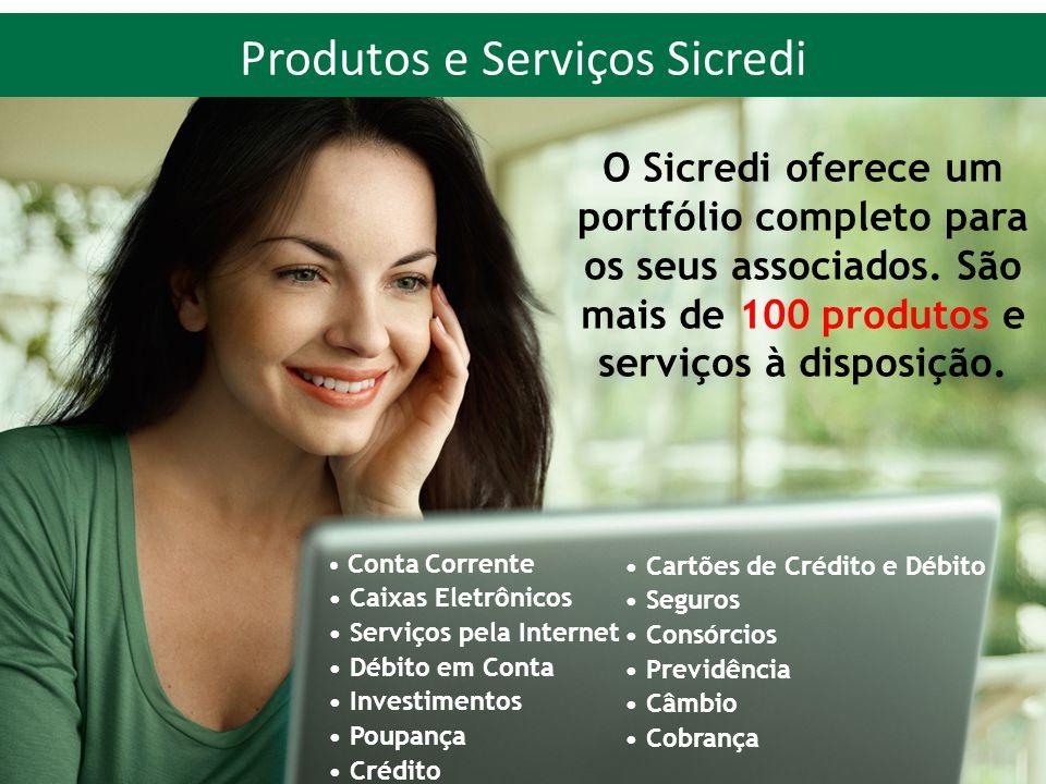 Produtos e Serviços Sicredi O Sicredi oferece um portfólio completo para os seus associados. São mais de 100 produtos e serviços à disposição. • Conta