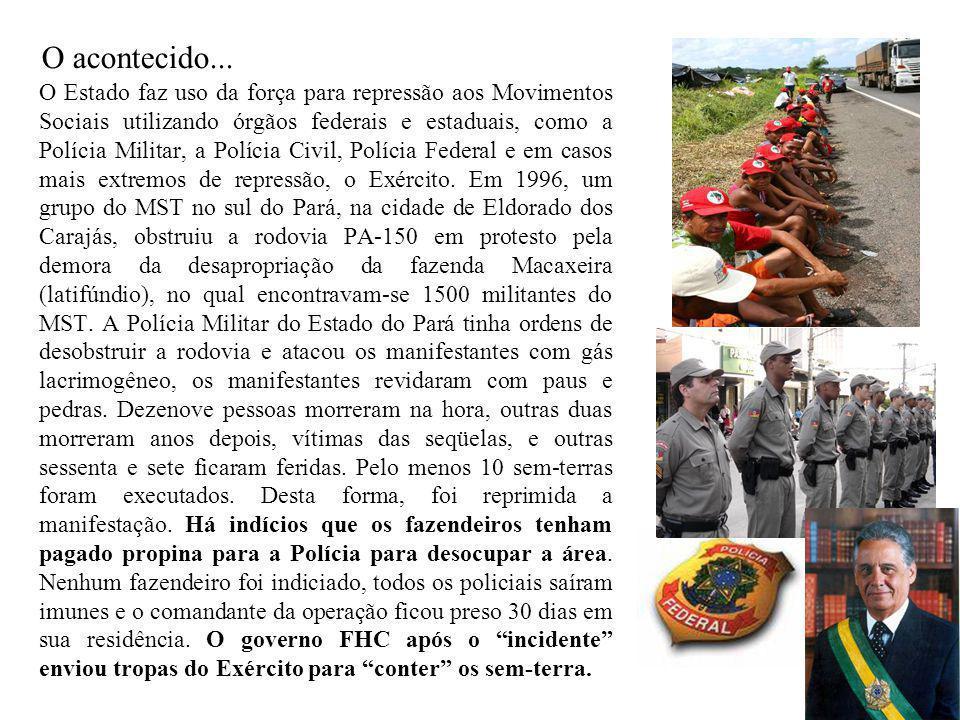 O Estado faz uso da força para repressão aos Movimentos Sociais utilizando órgãos federais e estaduais, como a Polícia Militar, a Polícia Civil, Políc