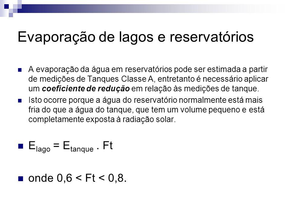 Evaporação de lagos e reservatórios  A evaporação da água em reservatórios pode ser estimada a partir de medições de Tanques Classe A, entretanto é n