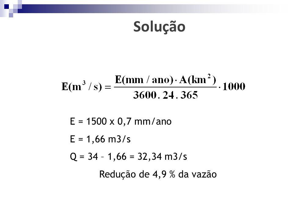 E = 1500 x 0,7 mm/ano E = 1,66 m3/s Q = 34 – 1,66 = 32,34 m3/s Redução de 4,9 % da vazão Solução