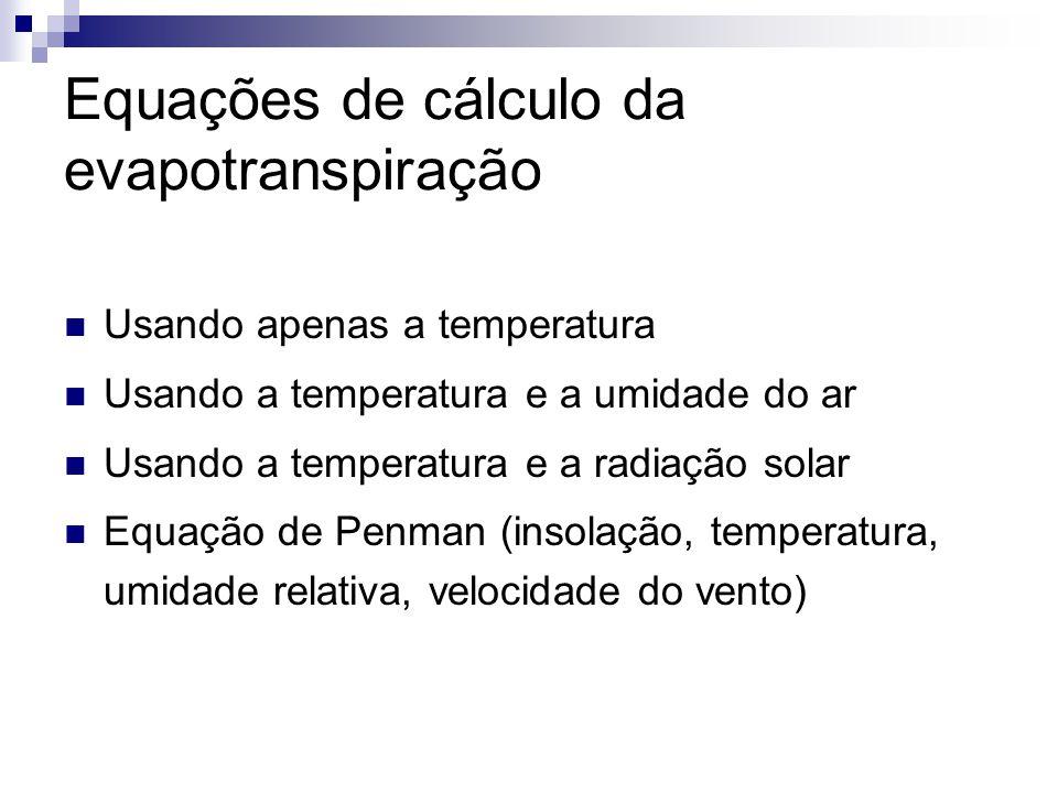 Equações de cálculo da evapotranspiração  Usando apenas a temperatura  Usando a temperatura e a umidade do ar  Usando a temperatura e a radiação so