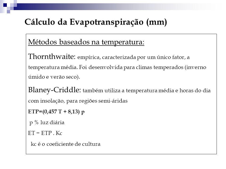 Cálculo da Evapotranspiração (mm) Métodos baseados na temperatura: Thornthwaite: empírica, caracterizada por um único fator, a temperatura média. Foi