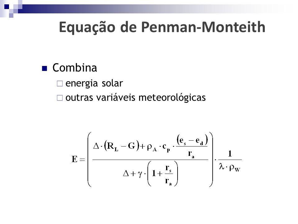  Combina  energia solar  outras variáveis meteorológicas Equação de Penman-Monteith