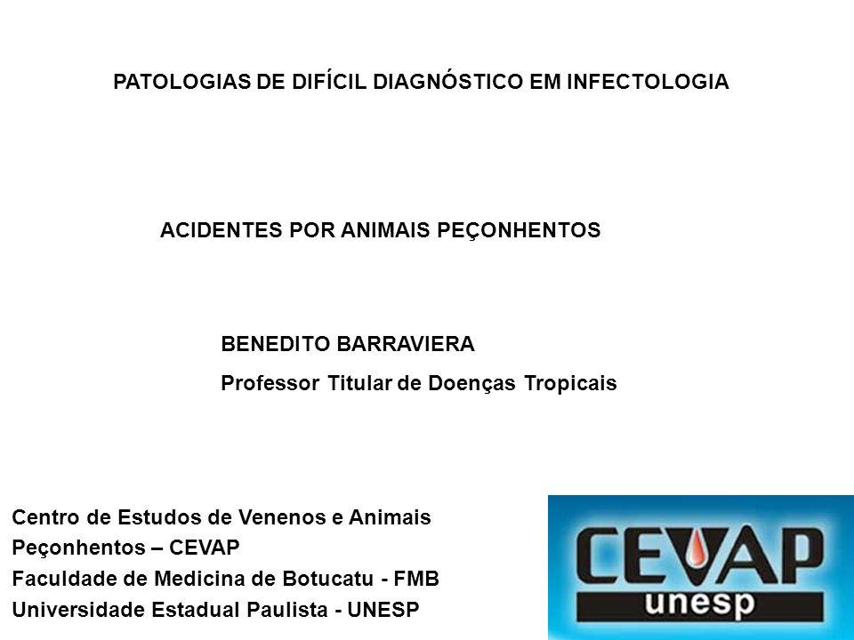 PATOLOGIAS DE DIFÍCIL DIAGNÓSTICO EM INFECTOLOGIA ACIDENTES POR ANIMAIS PEÇONHENTOS BENEDITO BARRAVIERA Professor Titular de Doenças Tropicais Centro