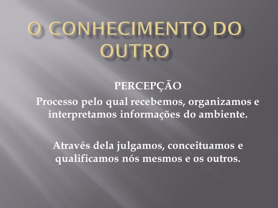 PERCEPÇÃO Processo pelo qual recebemos, organizamos e interpretamos informações do ambiente.