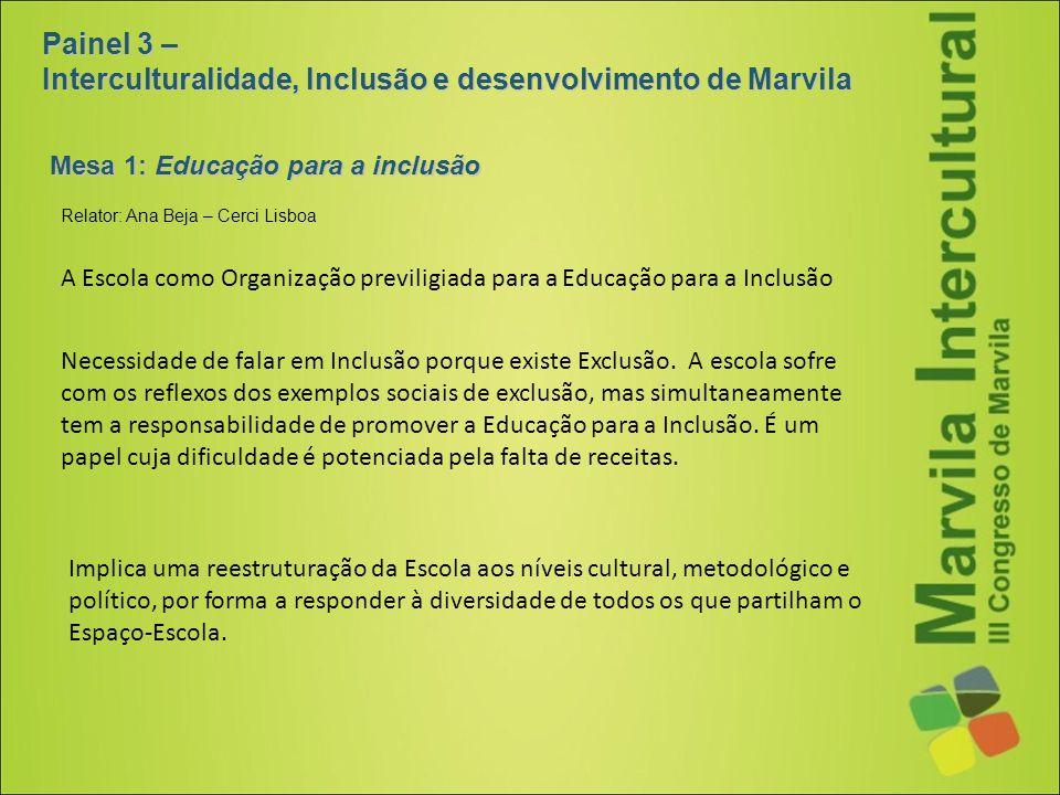 Painel 3 – Interculturalidade, Inclusão e desenvolvimento de Marvila Mesa 1: Educação para a inclusão A Escola como Organização previligiada para a Ed