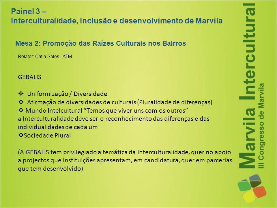 Mesa 2: Promoção das Raízes Culturais nos Bairros Painel 3 – Interculturalidade, Inclusão e desenvolvimento de Marvila GEBALIS  Uniformização / Diver