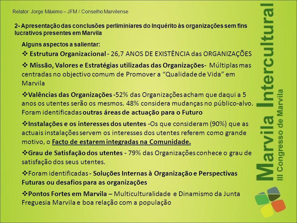 Relator: Jorge Máximo – JFM / Conselho Marvilense 2- Apresentação das conclusões perliminiares do Inquérito às organizações sem fins lucrativos presen