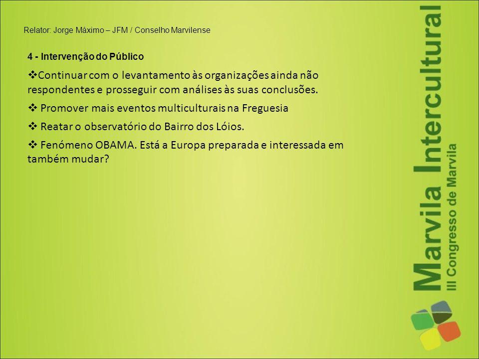 Relator: Jorge Máximo – JFM / Conselho Marvilense 4 - Intervenção do Público  Continuar com o levantamento às organizações ainda não respondentes e p