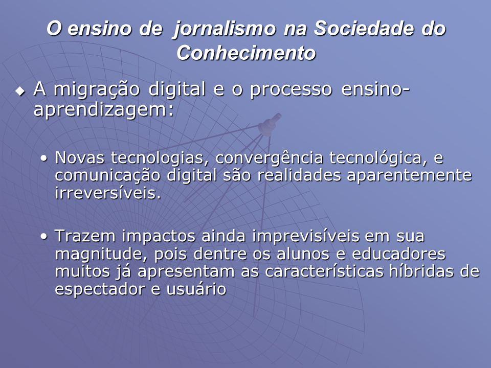 O ensino de jornalismo na Sociedade do Conhecimento  A migração digital e o processo ensino- aprendizagem: •Novas tecnologias, convergência tecnológi