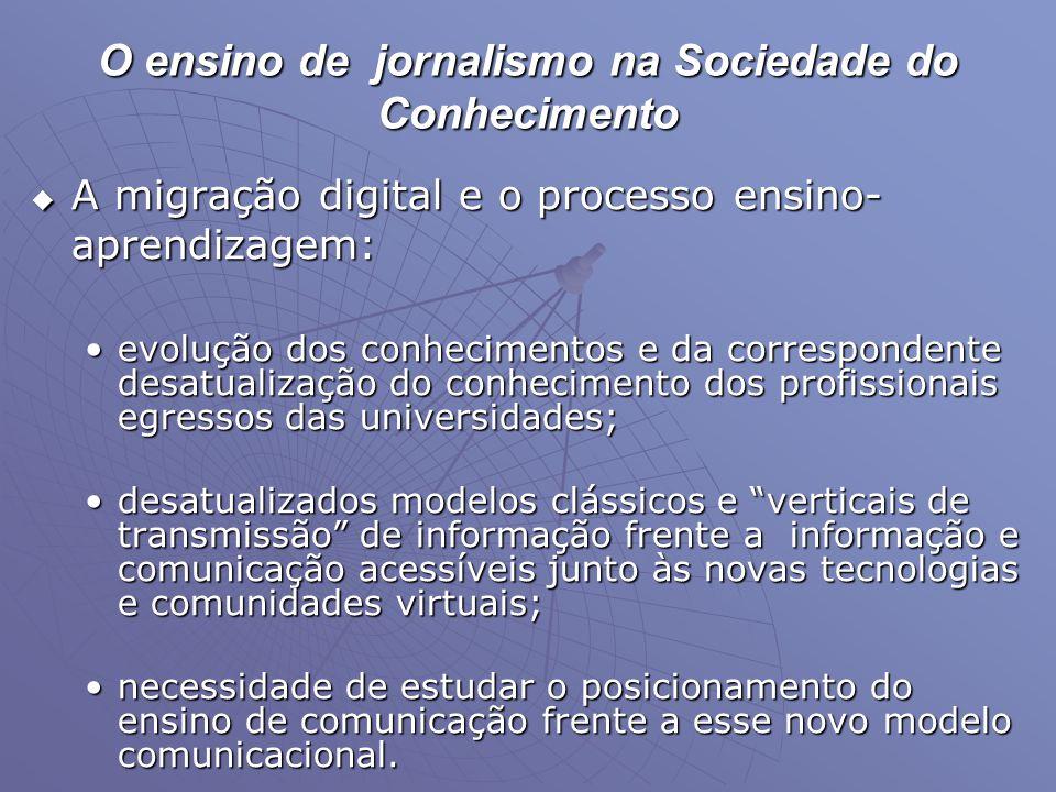 O ensino de jornalismo na Sociedade do Conhecimento  A migração digital e o processo ensino- aprendizagem: •evolução dos conhecimentos e da correspon