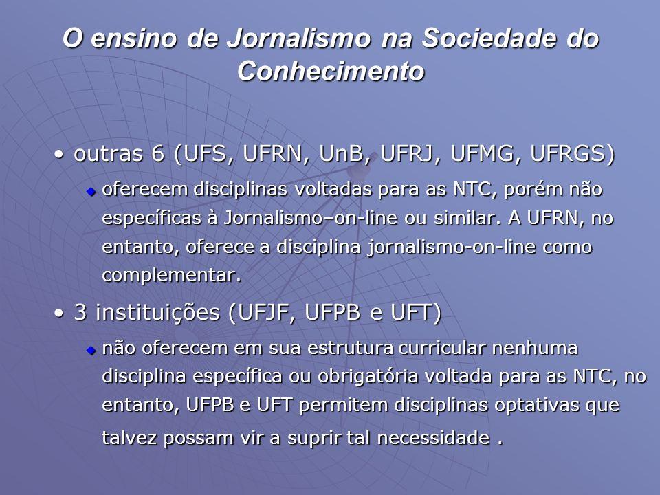 O ensino de Jornalismo na Sociedade do Conhecimento •outras 6 (UFS, UFRN, UnB, UFRJ, UFMG, UFRGS)  oferecem disciplinas voltadas para as NTC, porém n
