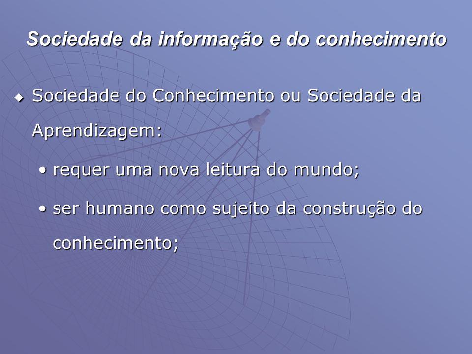 Sociedade da informação e do conhecimento  Sociedade do Conhecimento ou Sociedade da Aprendizagem: •requer uma nova leitura do mundo; •ser humano com