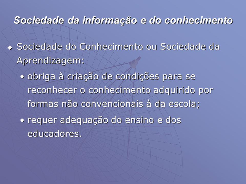 Sociedade da informação e do conhecimento  Sociedade do Conhecimento ou Sociedade da Aprendizagem: •obriga à criação de condições para se reconhecer