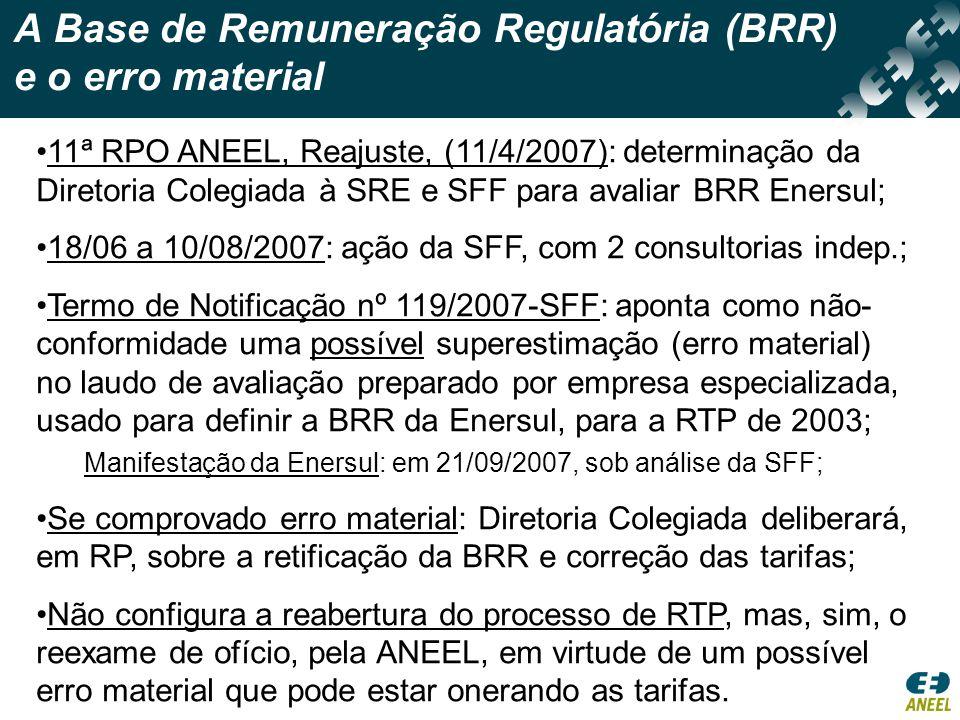 A Base de Remuneração Regulatória (BRR) e o erro material •11ª RPO ANEEL, Reajuste, (11/4/2007): determinação da Diretoria Colegiada à SRE e SFF para