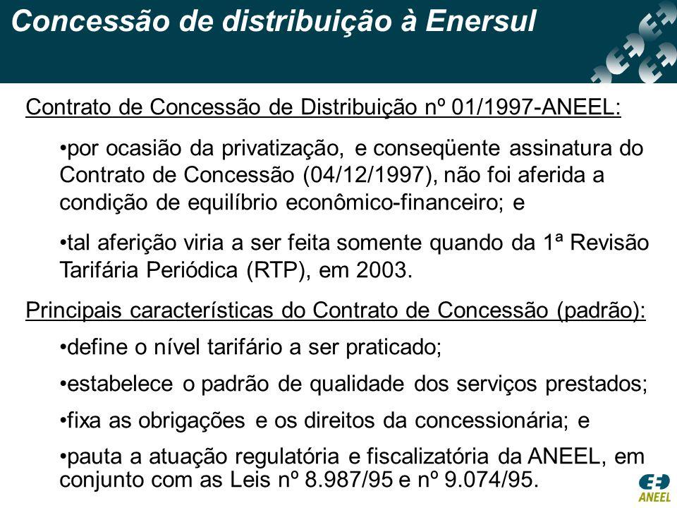 Concessão de distribuição à Enersul Contrato de Concessão de Distribuição nº 01/1997-ANEEL: •por ocasião da privatização, e conseqüente assinatura do