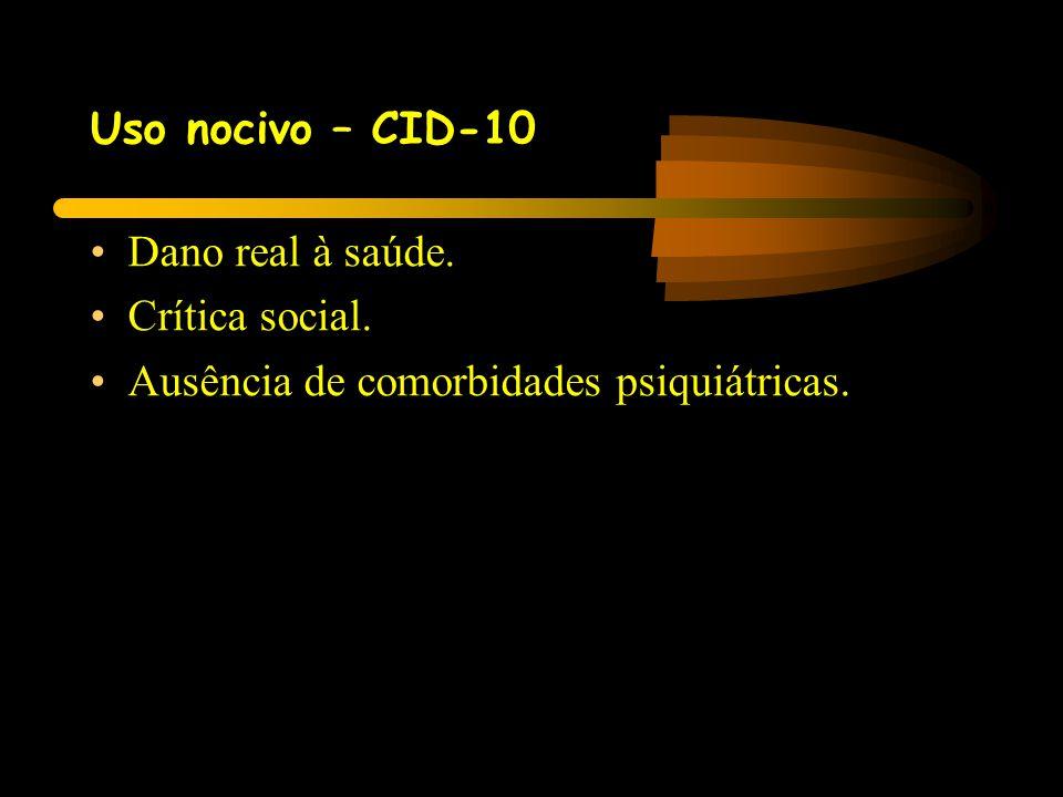 Uso nocivo – CID-10 •Dano real à saúde. •Crítica social. •Ausência de comorbidades psiquiátricas.