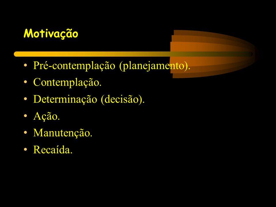 Motivação • Pré-contemplação (planejamento). • Contemplação. • Determinação (decisão). • Ação. • Manutenção. • Recaída.