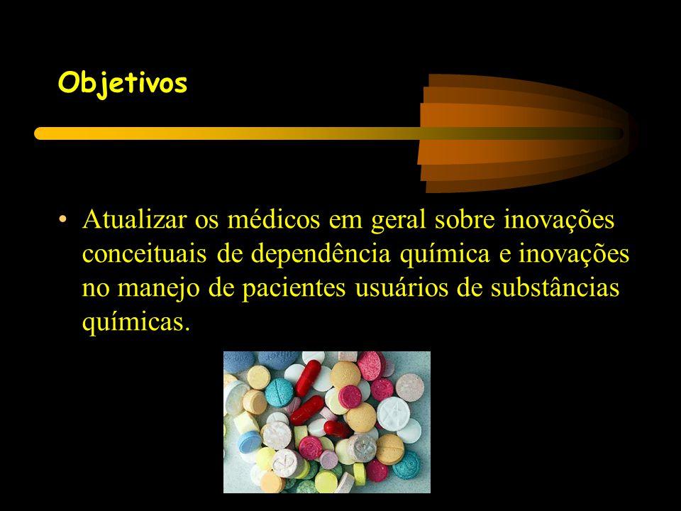 Objetivos •Atualizar os médicos em geral sobre inovações conceituais de dependência química e inovações no manejo de pacientes usuários de substâncias