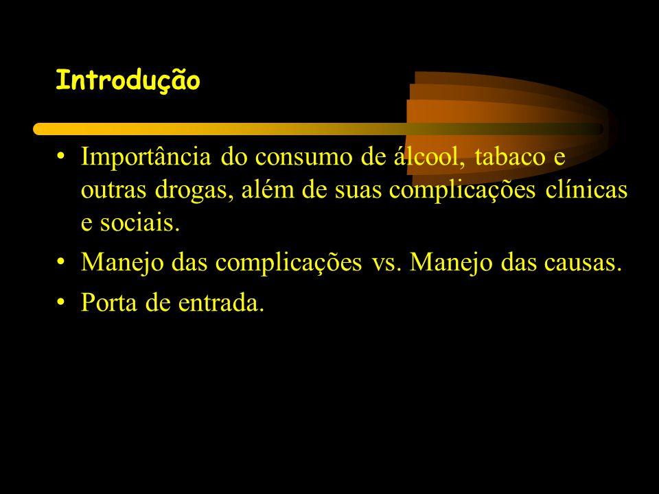 Introdução • Importância do consumo de álcool, tabaco e outras drogas, além de suas complicações clínicas e sociais. • Manejo das complicações vs. Man