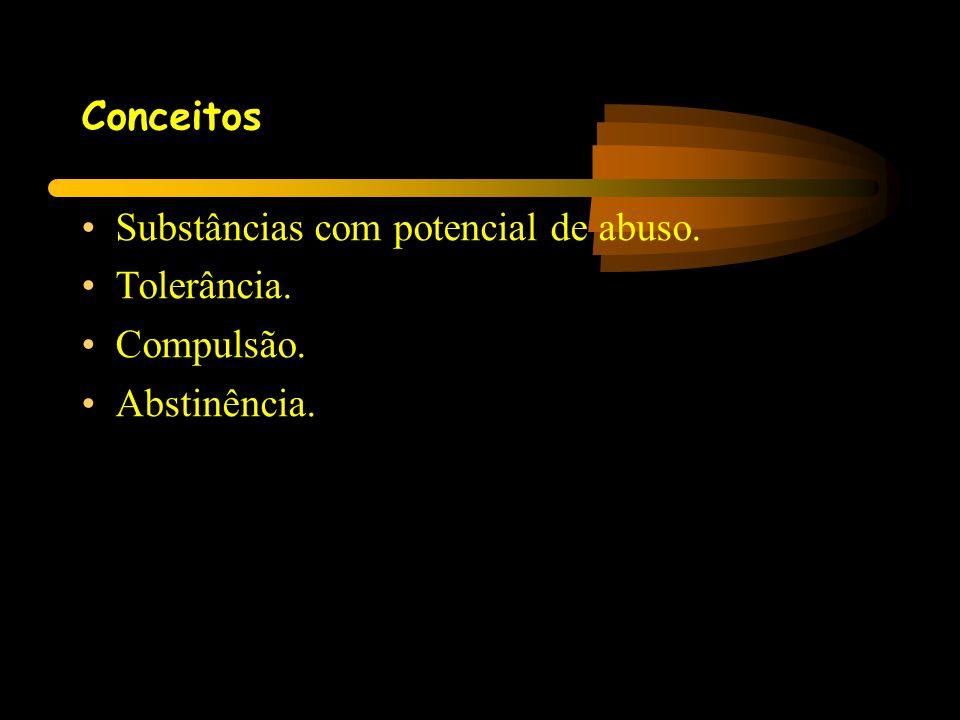 Conceitos •Substâncias com potencial de abuso. •Tolerância. •Compulsão. •Abstinência.
